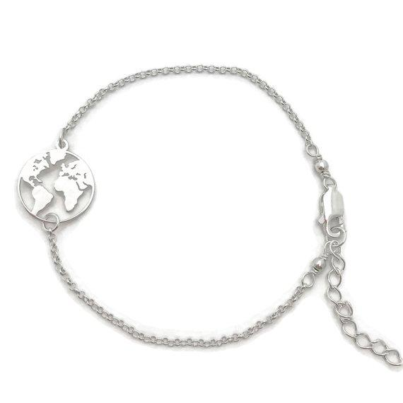 World Map Silver Bracelet Marpet For Silver